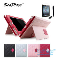 SeaPlays Lovely Korea Style Cute Red Lips PU Leather Liner Stand Case For iPad Mini Cover Fashion Pouch +5 Free Gift