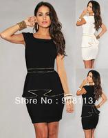 Drop shipping!Hot sale Mini Dress for Summer Ivory Gold Trim Peplum Dress White and Black