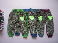 2014 leopard girls kids pant autumn winter warm trousers Children's leisure casual pants KP065R