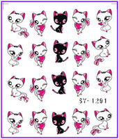 50 PCS / LOT Nail Art Water Transfers Stickers Nail Decals Stickers Water Decal Cat Kitten