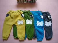 2013 retail crabs cotton fleece girls kids pant autumn winter warm trousers Children's leisure casual pants KP067R