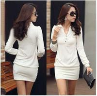 Free shipping 2014 autumn Korea Womens long Sleeve Mini Dress Slim Fit Tunic Basic Solid Tops size S/M/L