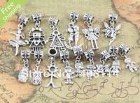 80pcs Mix Tibetan silver Boys/Girls Angel  Dangle Beads Fit European Charm Bracelet DIY