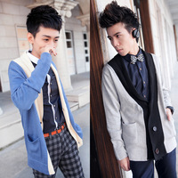 Fashion ! color block 2013 deep v neck medium-long cardigan sweater men's clothing knitted sweater yj817f58