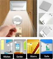 Free shipping via DHL/FEDEX/EMS, New 4 LEDs PIR Auto Sensor Motion Detector Energy Saving Emergency light AA Battery