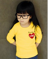 Wholesale 1 lot = 5 pieces bottoming shirt long sleeve T shirts boys and girls Little Love Hot selling fast shipping