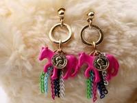 ZH0701 fashion punk  horse earring Tassel earrings party women's jewelry 5 Colors