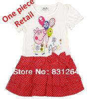 Free Shipping New 2014 Nova Kids Peppa Pig Fashion Girls Cute 100% Cotton Embroidery Peppa Girls Dress Princess Dresses