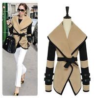 2014 Fashion Women's British Style Autumn Victoria Personalized Large Lapel Cape Wool Coat Women Outerwear Jacket Plus Size