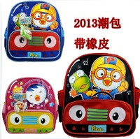 Super man cartoon kindergarten school bag child backpack with rubber