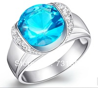 Luxurious Big Crystal Gem & Swiss Zirconia top-class 18KGP Platinum Ring Best gift Top Class 2 colors