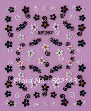 Custom Beautiful 3D Flower Nail Art Sticker Korea Nail Sticker(China (Mainland))