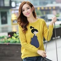 2013 women's autumn sweater little girl pattern all-match sweater