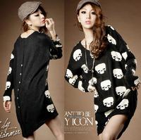 2013 new fasion autumn and winter all-match loose top skull print irregular medium-long t-shirt shirts pullovers hoodies