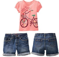 Fashion Children Clothing For Summer Cute Pink Bicycle T Shirt + Denim Shorts Pants 2pcs Girls Set 2-7Year Baby Kids Suit QZ44