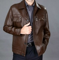 FREE SHIPPING 2014 new arrival autumn winter famous classic Middle-aged elderly genuine leather men's sheepskin leather jackets