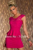 Женское платье 2013 New Fashion Summer Women Sexy Red White Dark Blue Long Sleeve Slimming Belted Peplum Midi Pencil Dress 6163