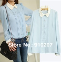 New Hot Sale lady chiffon turn-down collar blouses, women long-sleeved princess shirt, S/M/L Free Shipping