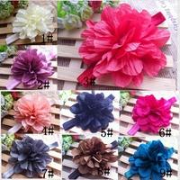 "4.5"" Cotton Wrinkled Flowers Headbands Pleated Flower Headbands 24pcs/lot little girl headbands AngelBaby"