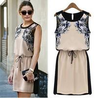 Free Shipping! Europe 2014 New Fashion Women Sleeveless Chiffon Print Flower Dress Casual High Street  O-neck Knee-Length Q710