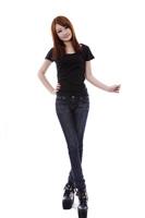 100% cotton great circle u Women slim waist slim t-shirt basic shirt heat press solid color short-sleeve t-shirt blank - black