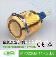 Ring LED Illuminated Push Button Switches / 22mm Momentary Switch ( Case In Gold )