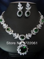 Spot wholesale and retail luxury green Mosaic zircon elliptical earrings necklace set with flowers