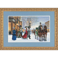 Free shipping DIY unfinished Cross Stitch kit animal  horse dimensions 03821 winter carriage ZA-K442