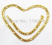 Wholesale 12sets/lot 10MM 18K Gold Plated Men Fashion Chain Necklace Jewelry Sets Necklace Bracelets Chain  DJS088 Free Shipping