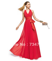 Sexy V-Neck Evening Dress Formal Gown Chiffon Fabric Custom Made Color Size With Ribbon Sash Pleat Zipper Back Long Floor Length