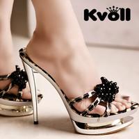2013 beaded bow leopard print platform sexy ultra high heels slippers