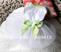 Free Shipping  Elegant  Bowknot Lace Dog Dress  Pet Clothing For Spring And Summer Doggie Skirt Top Quality