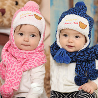 Baby hat baby hat autumn and winter female - - - 0 1 2 years old male child cap child hat scarf twinset