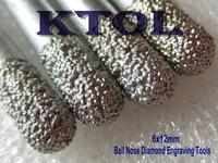 5pcs 6MM Ball Nose Endmills Bit, Diamond Engraving Milling Tools,CNC Carving Tools Cutter, on Stone Glass Granite Free Shipping
