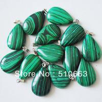 (100 Pieces/ Lot ), Nature Gem Stone Pendant,Green Malachite Stone,Flat Dropwater Shape,Size:12x15mm,Free Shipping