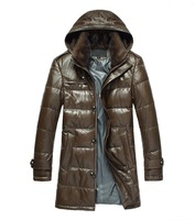 Leather & Suede Men's leather Jackets Business Casual Genuine Leather Clothing Male Long Design Down Coat Mink Overcoat Hooded