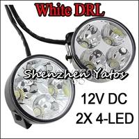 2pcs 4LED Round Daytime Running Light DRL Car Fog Day Driving Lamp
