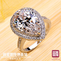 Stamped PT 950 heart-shaped dimond drop dimond ring jewelry wedding rings women high fashion original