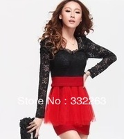 free shipping Hitz Women Korean version of the Slim lace high pockets hip hollow long-sleeved dress sexy nightclub