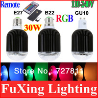 2013 RGB LED Lamp 30W E27/B22/GU10 Light Bulb Lamp High Power 16 Color Changing LED Bulb black shell with IR Remote Control