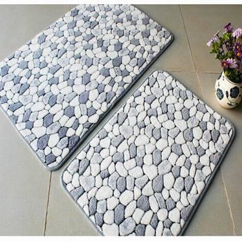 Rustic cobble stone carpet entranceway bed rug door blanket water wash