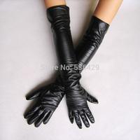 2014 Women's faux leather long gloves ultra long belt long design fashion women's gloves 50cm M L free shipping