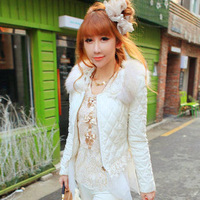 Autumn winter 2013 women small elegant coat ladies pearl collar design short outerwear sweet wadded white Parkas
