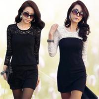 2013 Spring Autumn Women's Sweet Basic Skirt Long-sleeve O-neck Slim Lace One-piece Dresses Wholesale Price