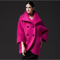 Hot Design Popular Women's Poncho woolen jacket hoody batwing sleeve loose coat thicking rose blue green supernoval sale WW9171
