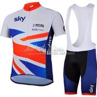 Free shipping Top Grade Quality 2013 Sky UK Cycling jerseys and bib shorts set red blue