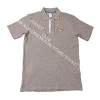 Free shipping 2013 14 Thailand quality Real madrid POLO Shirts grey real madrid shirts