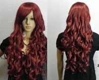 Fashion NEW dark red LONG curly COSPLAY health hair WIG +weaving cap