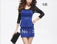 free shipping Autumn new Korean high pockets hip nightclubs tight sexy long sleeve Slim dress flouncing Wholesale