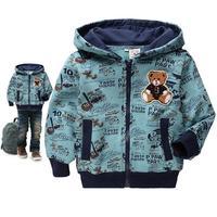 free shipping 2013 autumn Children's hoodies boys clothing bear 95% cotton plus velvet zipper outerwear jacket kid's coat